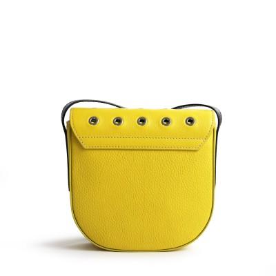 Small shoulder bag DINA ROCK in grained leather, lemon color - back view
