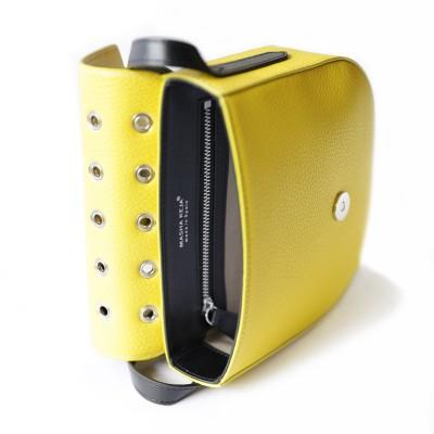 Small shoulder bag DINA ROCK in grained leather, lemon color - open