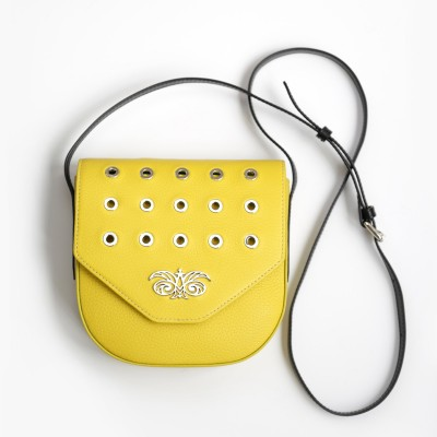 Small shoulder bag DINA ROCK in grained leather, lemon color and black leather strap