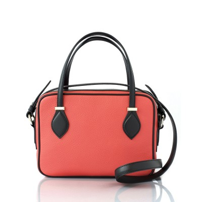 JULIETTE, leather handbag in grained leather, hibiscus color - back view