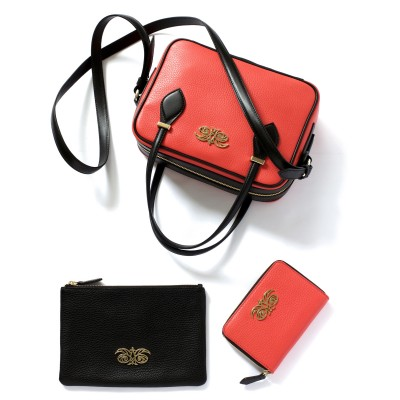 JULIETTE, leather handbag in grained leather, hibiscus color - with accessories