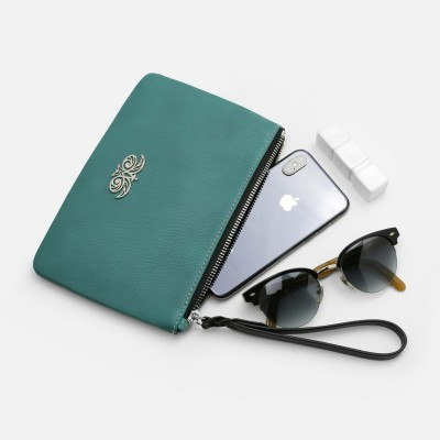 Grained leather zipper pouch with wrist strap,  turquoise color - with mobile and glasses