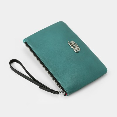 Grained leather zipper pouch with wrist strap,  turquoise color - side view