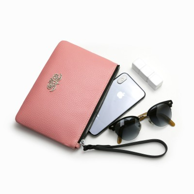 Grained leather zipper pouch with wrist strap,   pink marshmallows color - with mobile and glasses