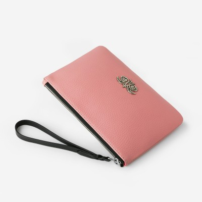 Grained leather zipper pouch with wrist strap,  pink marshmallows color - side view