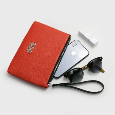 Grained leather zipper pouch with wrist strap,   hibiscus color - with mobile and glasses