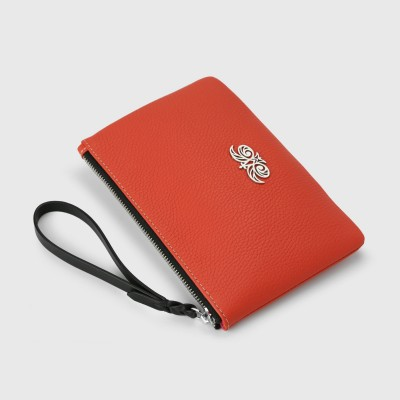 Grained leather zipper pouch with wrist strap,   hibiscus color - side view