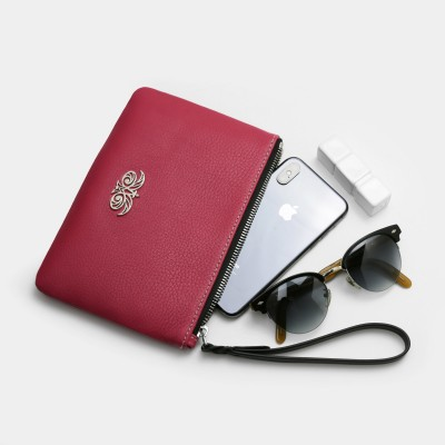 Grained leather zipper pouch with wrist strap,   raspberry color - with mobile and glasses