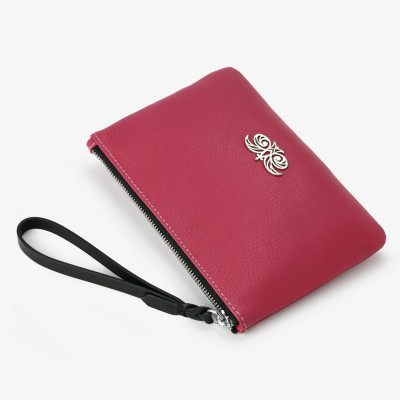 Grained leather zipper pouch with wrist strap,   raspberry color - side view