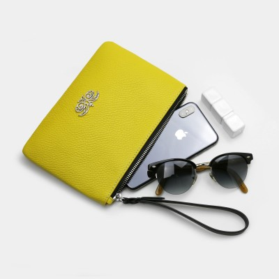 Grained leather zipper pouch with wrist strap,    lemon color - with mobile and glasses