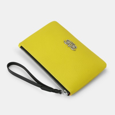 Grained leather zipper pouch with wrist strap,    lemon color - side view