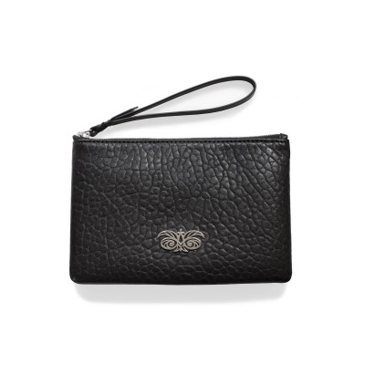 Lambskin zipper pouch with wrist strap, black color - front view