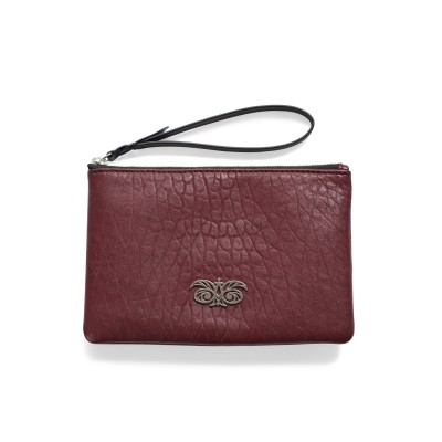 Lambskin zipper pouch with wrist strap, burgundy color - front view