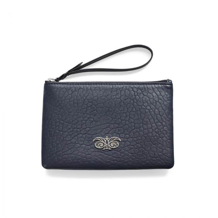Lambskin zipper pouch with wrist strap, navy blue color - front view