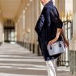 JULIETTE, leather handbag in grained leather, grey lavender color - on a model