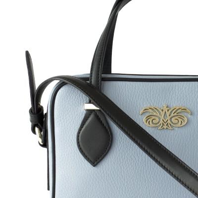 JULIETTE, leather handbag in grained leather, grey lavender color - details