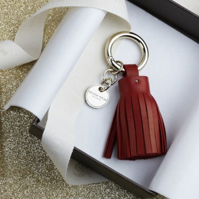 Key holder and bag charms TASSEL in lambskin, bordeaux color and gold - in the gift box