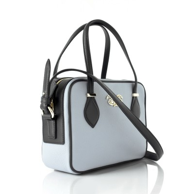 JULIETTE, leather handbag in grained leather, grey lavender color - profile view