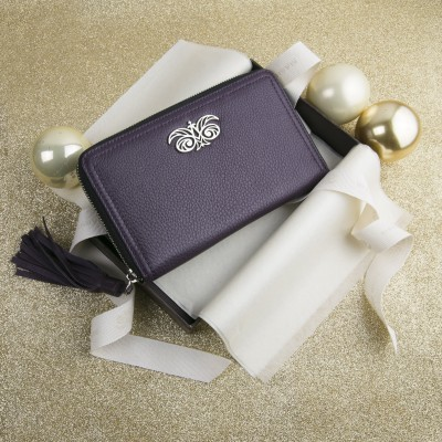 """Zipper organizer """"LISE"""" in grained calfskin with leather zipper, purple color - in the gift box"""