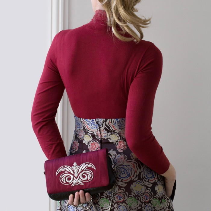 """small handbag """"AVA BABY"""" in calf and moire embroidered cannetille"""