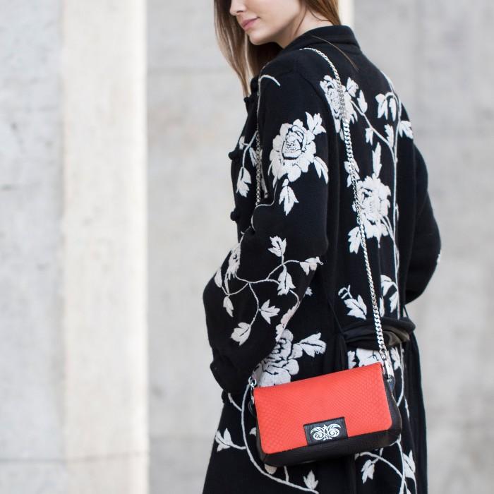 "Small handbag ""AVA Baby"" in calf leather and python"