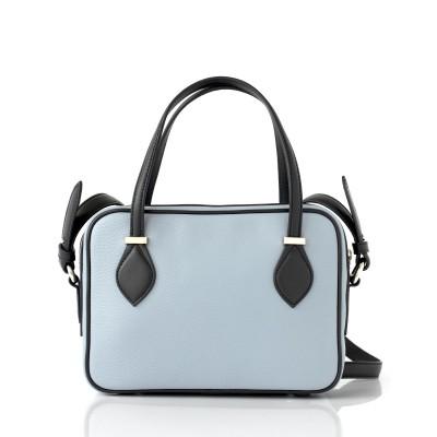 JULIETTE, leather handbag in grained leather, grey lavender color - back view