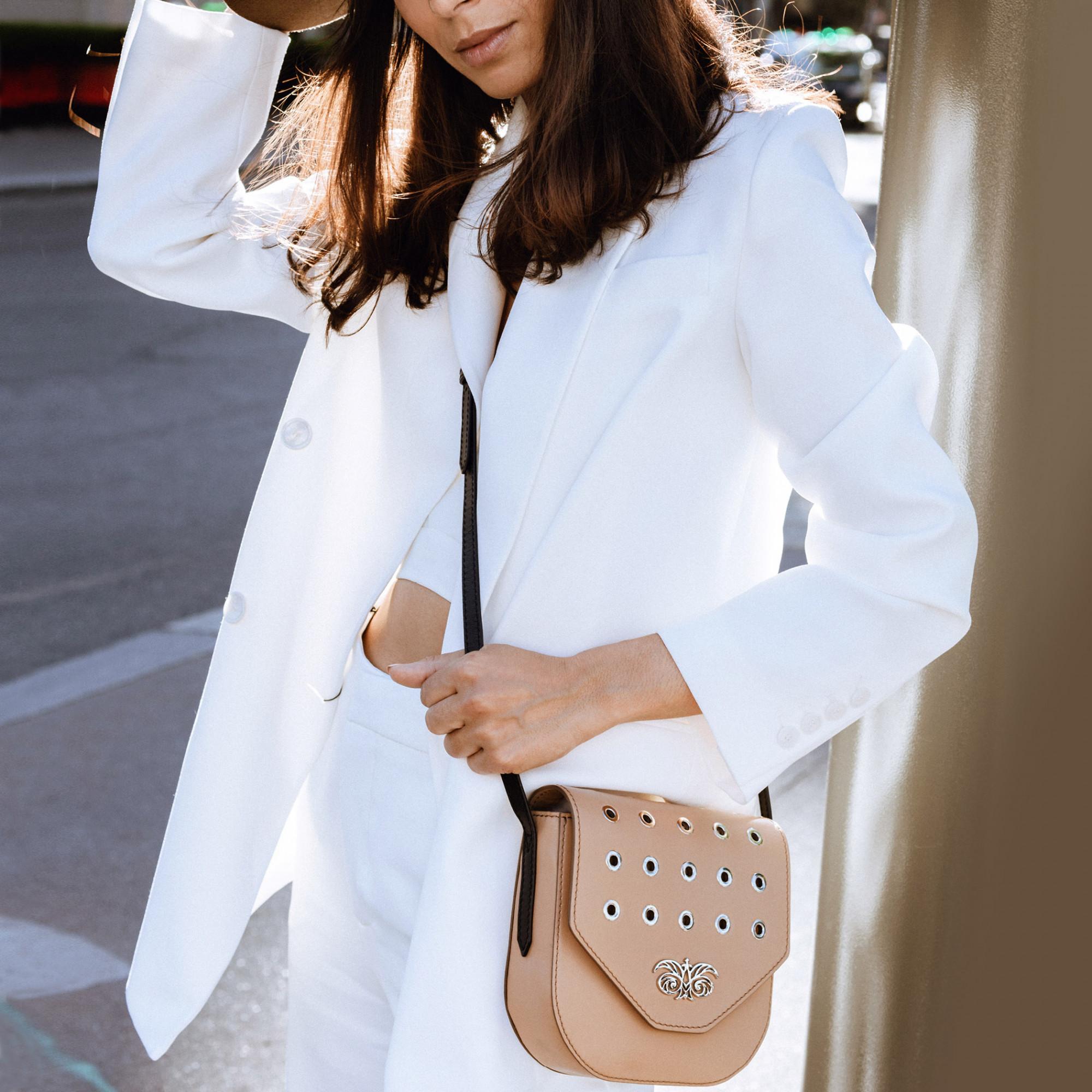 Small shoulder bag DINA ROCK in smooth leather, beige color - on a model