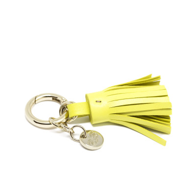 Key holder and bag charms TASSEL in lambskin, anis color and gold - side view