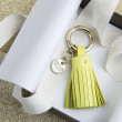 Key holder and bag charms TASSEL in lambskin, anis color and gold - in the gift box