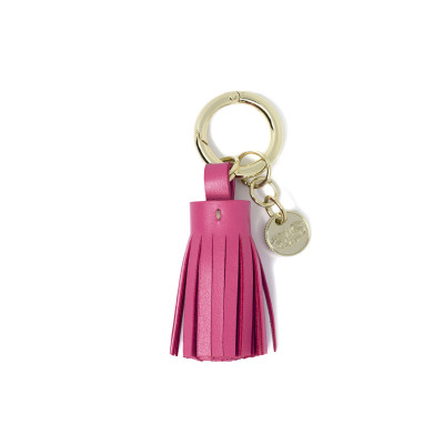 Key holder and bag charms TASSEL in lambskin, fuchsia color and gold - front view