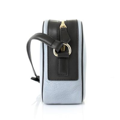 Camera leather crossbody bag in lavender grey color - profile
