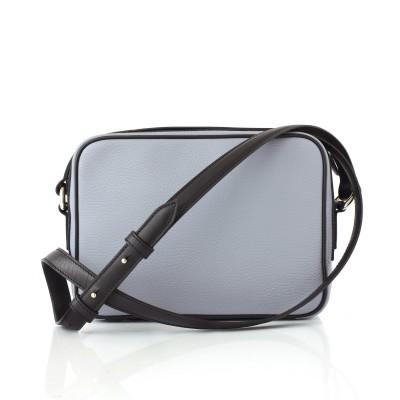 Camera leather crossbody bag in lavender grey color - back