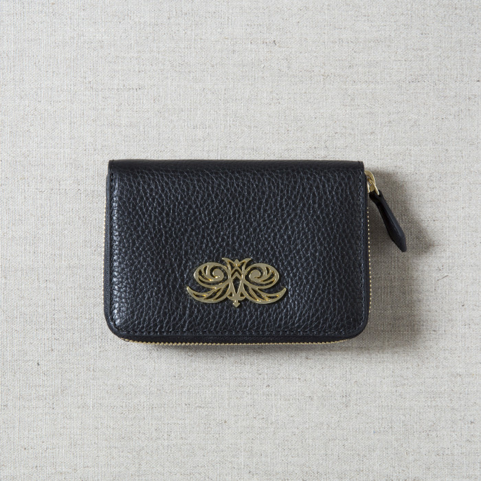 """Compact zipped wallet """"MADRID"""" in grained calfskin"""