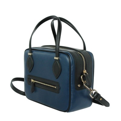 Leather handbag with removable strap, navy blue color - back view