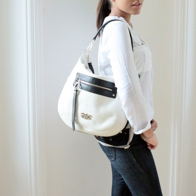 Grained leather crossbody...