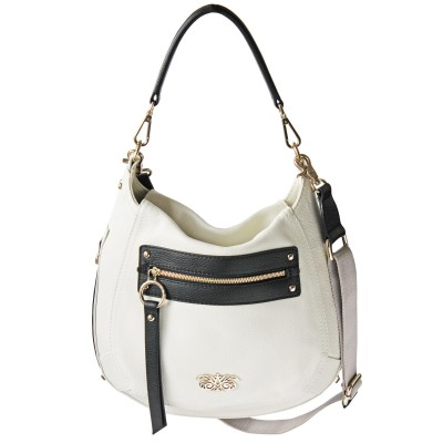 FRENCHY, crossbody leather bag L, white color - front view