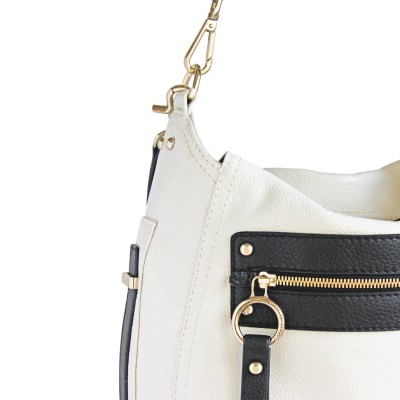 FRENCHY, crossbody leather bag L, white color - details