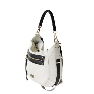 FRENCHY, crossbody leather bag L, white color - profile view