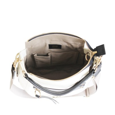 FRENCHY, crossbody leather bag L, white color - open