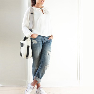 FRENCHY, crossbody leather bag L, white color - on a parisian model