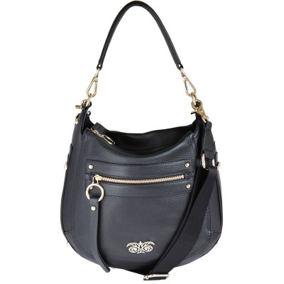 FRENCHY, crossbody leather bag L, black color - front view