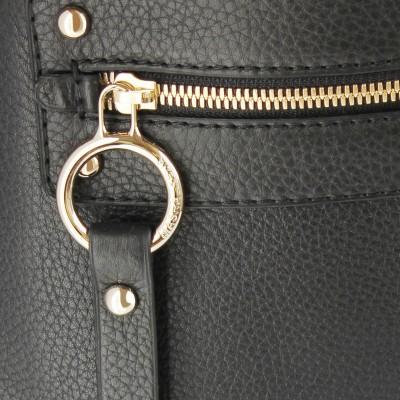 FRENCHY, crossbody leather bag L, black color - details