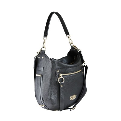 FRENCHY, crossbody leather bag L, black color - profile view