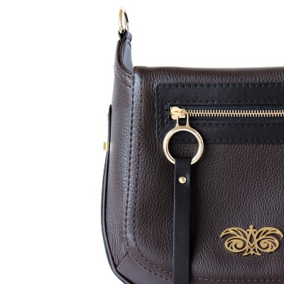 FRENCHY, Crossbody bag in grained leather, brown color - details