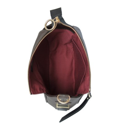 FRENCHY, Crossbody bag in grained leather, brown color - open