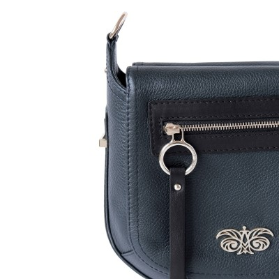 FRENCHY, Crossbody bag in grained leather, navy blue color - details