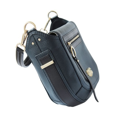 FRENCHY, Crossbody bag in grained leather, navy blue color - side view