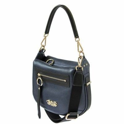 FRENCHY, Crossbody bag in grained leather, navy blue color - side view and details
