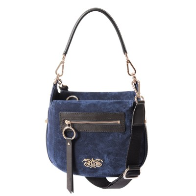 FRENCHY, crossbody leather and nubuck, night blue color - front view