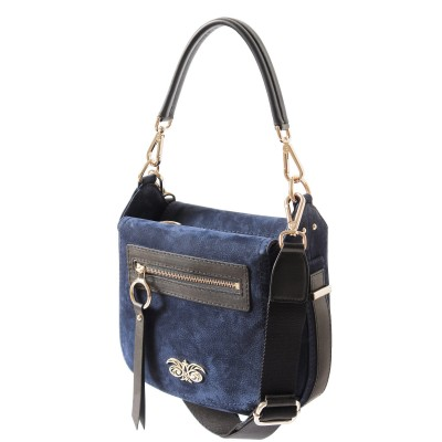 FRENCHY, crossbody leather and nubuck, night blue color - side view
